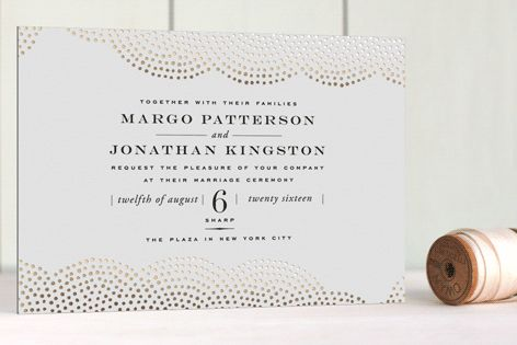 Your invitation sets the tone for your whole wedding. I like this playful foil-pressed one.