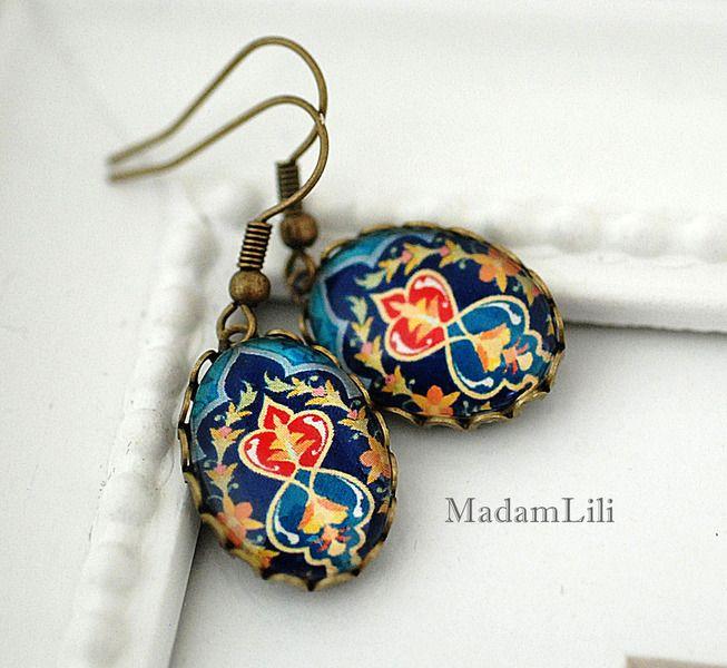 Ohrhänger - ♥ Orientalische Fliesen ♥ Bronze Ohrringe - ein Designerstück von madamlili bei DaWanda