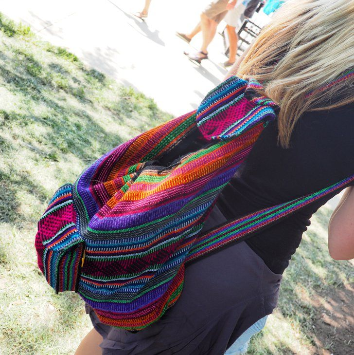 Pin for Later: How Chic-ago! The Best Festival Looks From Lollapalooza Lollapalooza 2014 Southwestern-inspired carryalls, like this multi-colored woven backpack, were all over the festival grounds.