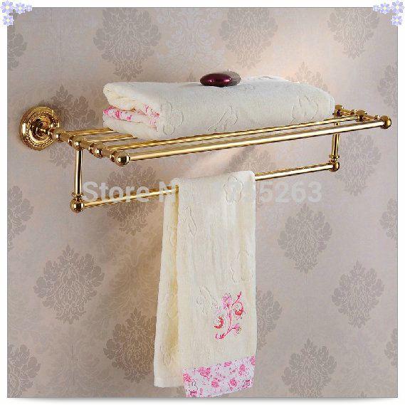 Купить товарНовое поступление бесплатная доставка! аксессуары для ванной комнаты классический золотой латуни ванной полотенце зубчатой рейки шельфа ( настенные ) HJ 1312K одного в категории Вешалки для полотенецна AliExpress.            &