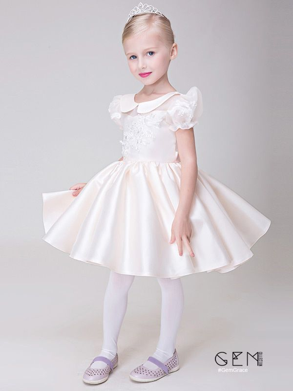 da04429e4b7b Pale Pink Collared Lace Satin Flower Girl Dress with Short Sleeves