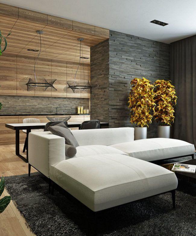 Einrichten In Naturtnen Wohnideen Wohnzimmer Holz Steinwand Weisses Sofa