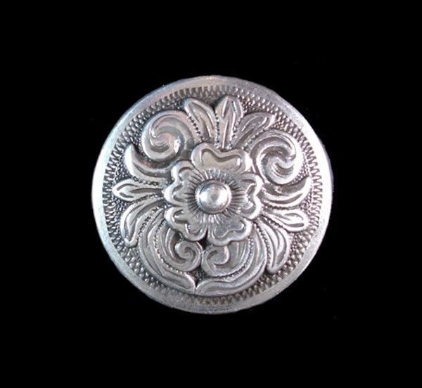 "Western Equestrian Tack Old Silver Engraved 6 Old West 1/"" Conchos"