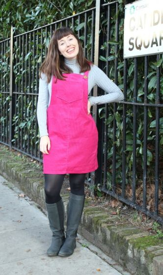 Rosie's Cleo dungaree dress - sewing pattern by Tilly and the Buttons