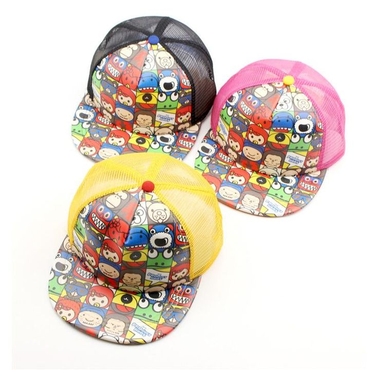 [Visit to Buy] 2017 New Children Hip Hop Baseball Cap Summer Cartoon pacifier kids Sun Hat Boys Girls mesh snapback Caps hats for 2-8 years #Advertisement