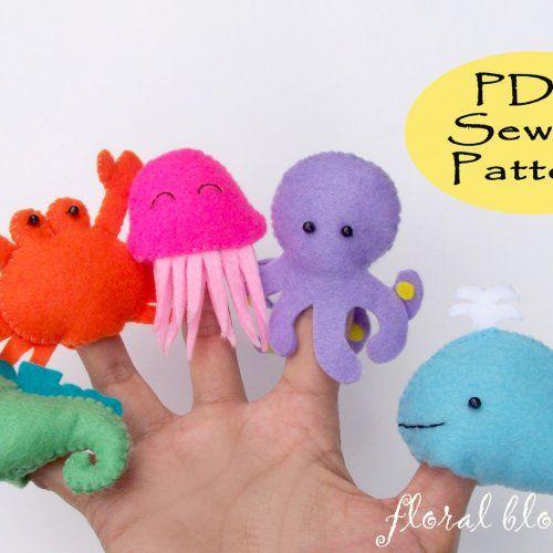 Pdf sea creatures felt finger puppets
