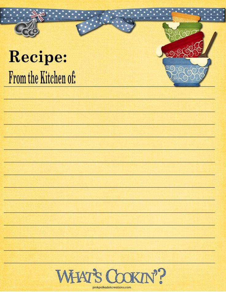 65 best images about recipe cards on pinterest printable for Full page recipe template for word