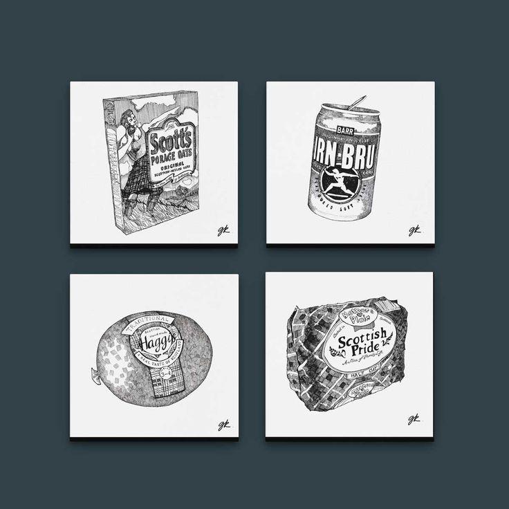 Gillian Kyle Scottish Canvas Prints Art Gallery, Scottish Food Canvas Print Collection, Porridge, Haggis, Irn-Bru, Mothers Pride