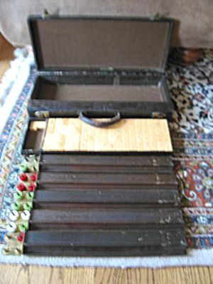 Vintage leather and bakelite Mahjong set for sale at More Than McCoy on TIAS!