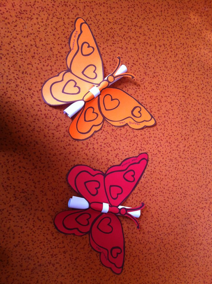 Tekening voor mama ingepakt, drawing for mothersday wrapped in in a very cute butterfly!