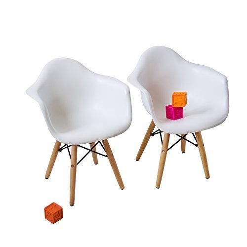 Awesome Midcentury Modern Set Of Two White   Kids Eames Style Retro Modern  Colorful Dining Room Mid Century Shell Chair Metal Natural Wood Dowel Leg  Base ...