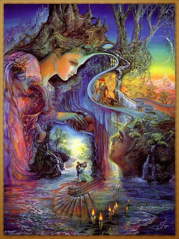 Josephine Wall  'Sweet Synergy' Gently cradled in her feathery wing, the goddess links her energy with the male and female of humankind, creating a labyrinth, which represents the many twists and turns of life. Spiralling downward, a staircase leads to the entrance of another world, where romance and tranquillity eternally dance. When minds are joined in this fashion, a perfect synergy is created, leading to spiritual growth and vital transformation.