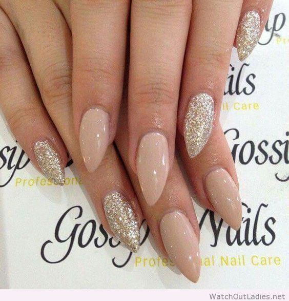 Nude Bling | 20 + DIY New Years Eve Nail Art Ideas