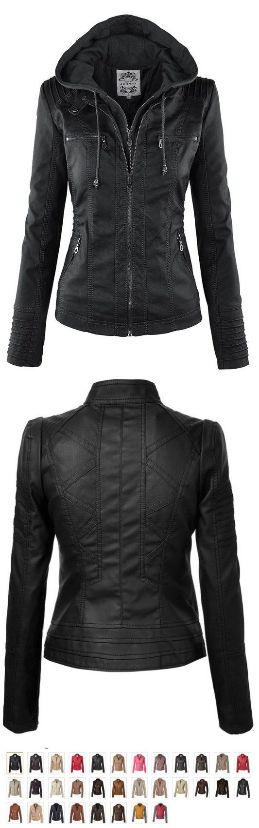MBJ Womens Faux Leather Zip Up Moto Biker #Jacket With Stitching Detail ✮✮✮✮134 ctr. rvs.  100% POLYURETHANE(shell) 100% POLYESTER(lining) Medium weight faux lether jacket / Fully lined Exposed zipper details / Fully lined Detail stitching on front and back for style / Pockets on front for comfort HAND WASH COLD / HANG TO DRY / DO NOT IRON / DO NOT DRY CLEAN. https://twitter.com/TheMarketer2015/status/646230709061947392