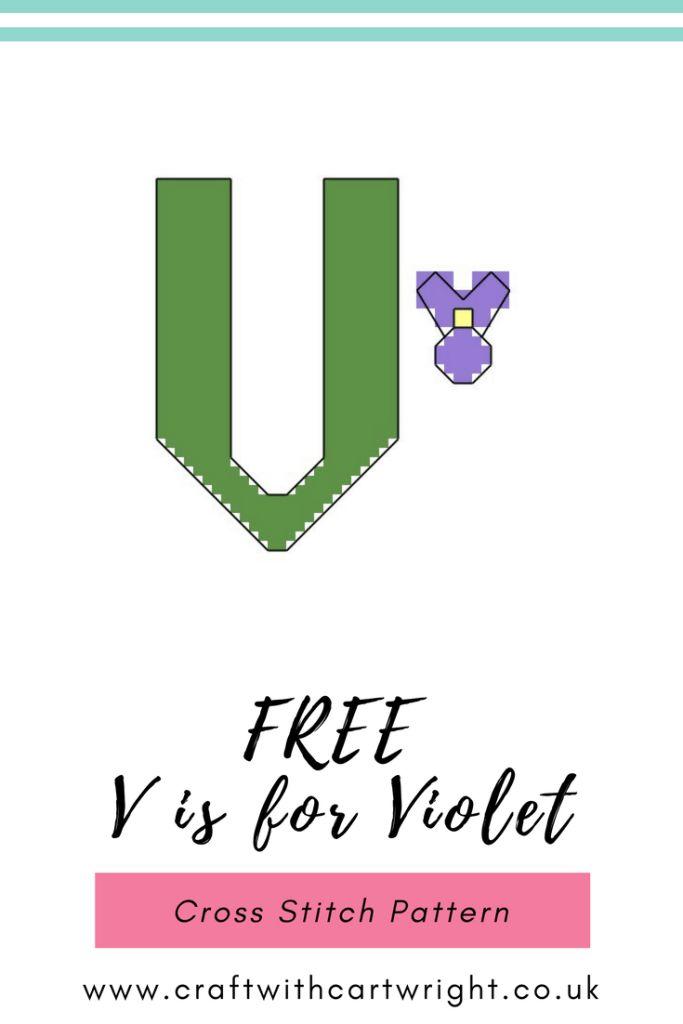V is for Violet Alphabet Cross Stitch Pattern