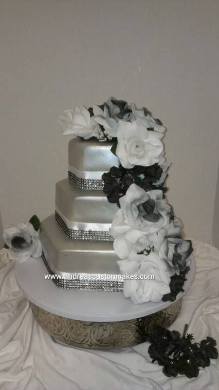 Silver, black, and white hexagon wedding cake