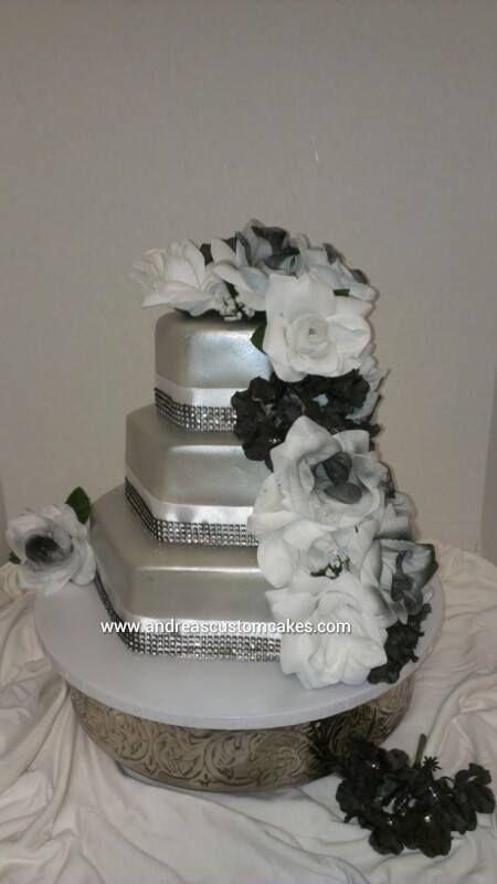 Silver, black, and white hexagon wedding cake
