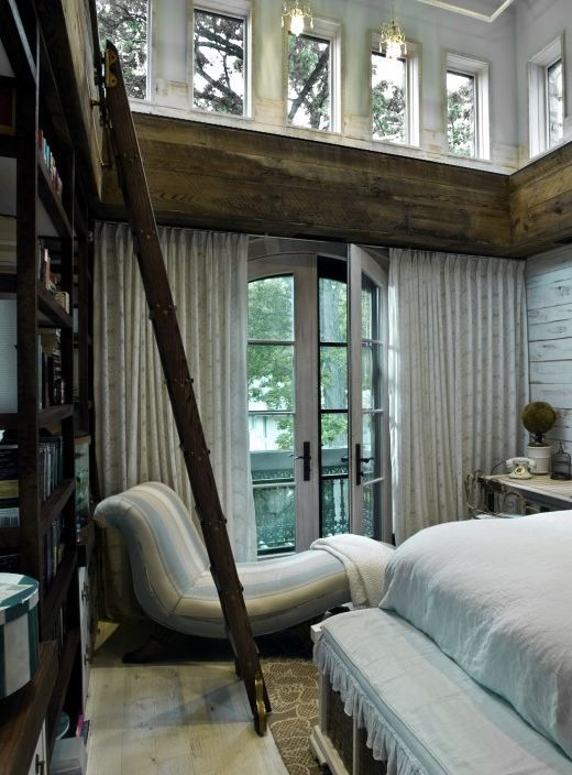 I like this idea. Windows up top for light. Curtains for privacy. Cocoon without smothering. I'd do my own colors.