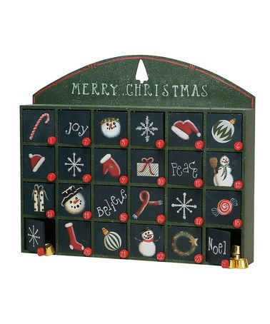 Another great find on zulily Green Merry Christmas Box #2: c2fe6f49d566bdcdd097f7af4ffa048f wooden advent calendar christmas advent calendars