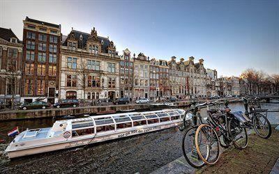 Scarica sfondi biciclette, canale, lungomare, imbarcazione da diporto, amsterdam