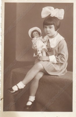 1937 KID GIRL CHILD with ANTIQUE TOY DOLL - vintage old photo | eBay