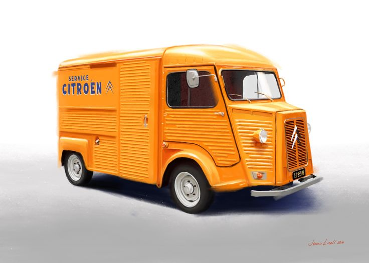 My painting of a vintage Citroen H van. Should I paint your car, too? See more of my art at jonaslinell.com #car #citroen #classic #cars #vintage #art #painting #retro #illustration