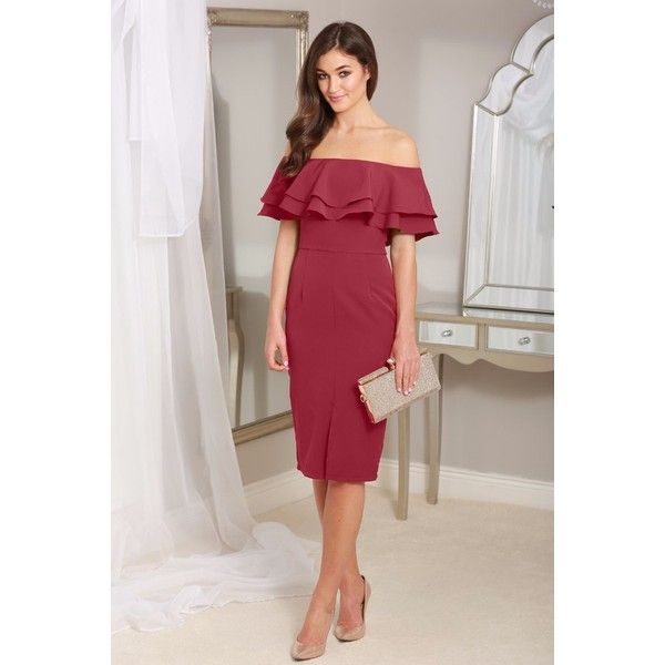 Cathy Wine Off the Shoulder Ruffle Dress via Polyvore featuring dresses, off the shoulder midi dress, off shoulder frill dress, off shoulder dress, off the shoulder dress and flounce dress