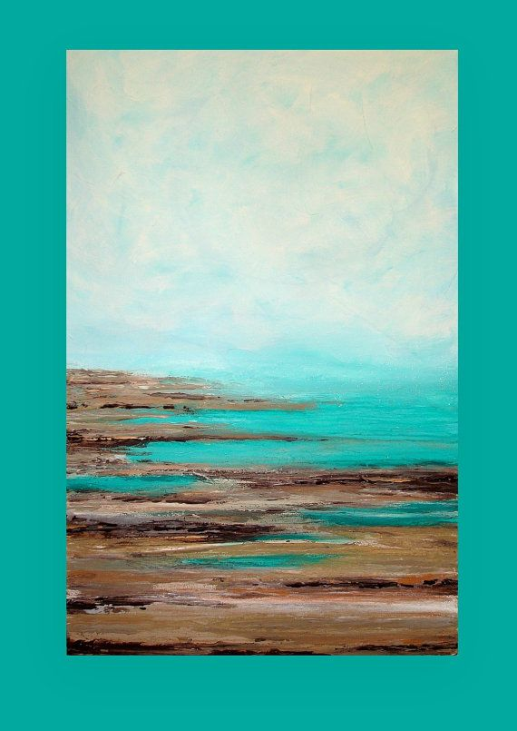 Ocean Seascape Acrylic Abstract Painting por OraBirenbaumArt