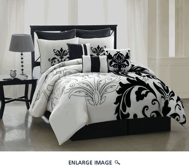 13 Piece Queen Arezzo Black and White Bedding Bed in a Bag Set