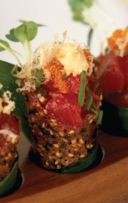 Scrumpdillyicious: Spicy Tuna Tartare in Sesame Miso Cones