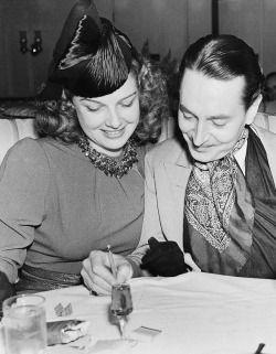 """avasgal: """" """"Ann Sheridan and Reginald Gardiner having dinner, 1936"""" """""""