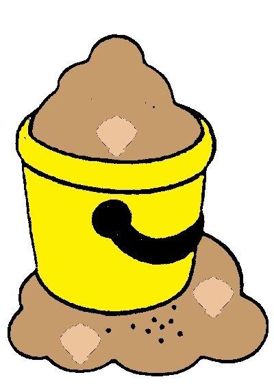 Gele emmer met schelpen van telspel