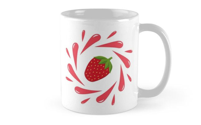 Juicy illustration! Strawberry splash - Mugs on Redbubble. Designed by Luna Princino. #lunaprincino #home #decor #design #mug #mugs #strawberry #berry #fruit #fresh #juicy #red #splash #motion #graphic #drops #print #redbubble #gift #idea #summer #vivid #kitchen