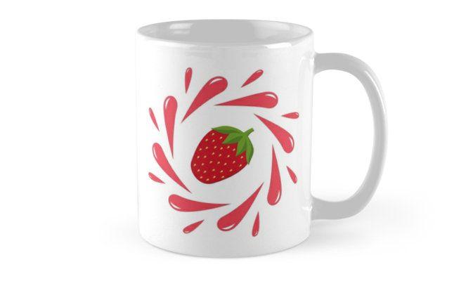 Juicy illustration! Strawberry splash - Mugs on Redbubble. Designed by Luna Princino. #lunaprincino #home #decor #design #mug #mugs #strawberry #berry #fruit #fresh #juicy #red #splash #motion #graphic #drops #print #redbubble #gift #idea #summer #vivid #kitchen