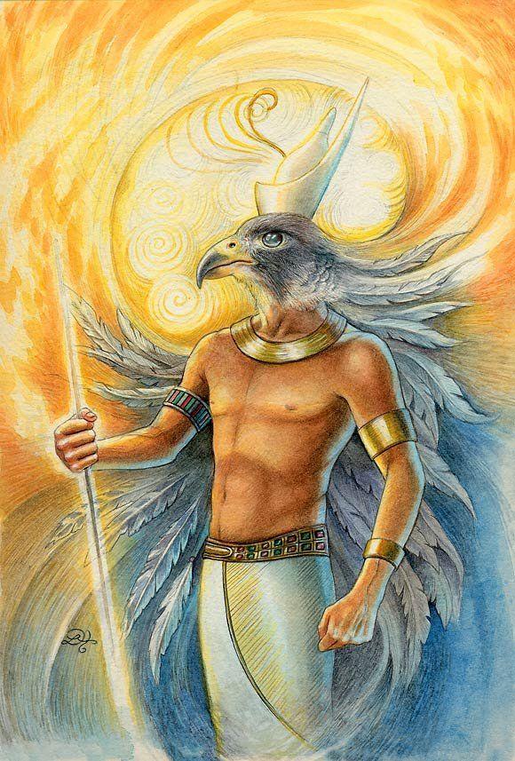 Horus en un principio es un dios celeste; es el dios real más antiguo que tuvo forma de halcón. Se le concidera el señor de la montaña y la luna.Osiris (padre), Isis (madre) y Horus fueron la tríada más importante de dioses. En el Libro de los Muertos Horus, bajo su forma de Haroeris, tiene cuatro hijos (Amset, Hapy, Duamutef y Kebehsenuf) que son sus potencias de manifestación y que ayudan al Faraón a ascender al cielo.
