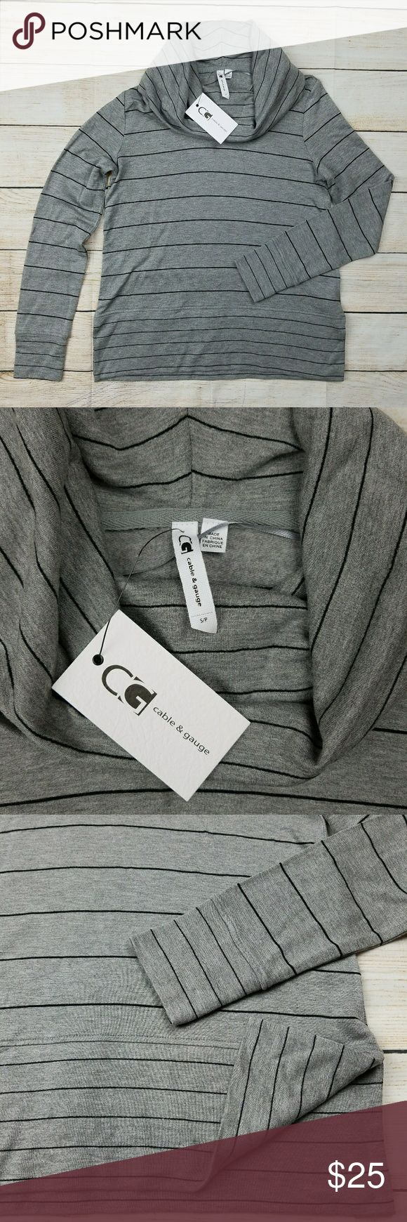 """Cable & gauge cowl neck sweatshirt top Small NWT NEW Cable & gauge cowl neck sweatshirt top Brand new with tags.  No flaws  Measurements approx (taken with item laid flat across side to side) Shoulders 16.5"""" Chest 17.5"""" Sleeve 24"""" Length 2.5""""  ✔For the best results I recommend comparing the measurements of your favorite fitting top or a similar item to the measurements provided above   From a smoke-free home  (160) Cable & Gauge Tops"""