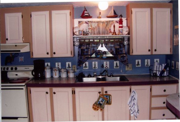 low budget nautical kitchen makeover, this is my sisters small kitchen in a older house she rents. she loves nautical themes and ask me for help in her kitchen and this is what we came up with on a limited budget., this is AFTER our makeover., Kitchens Design
