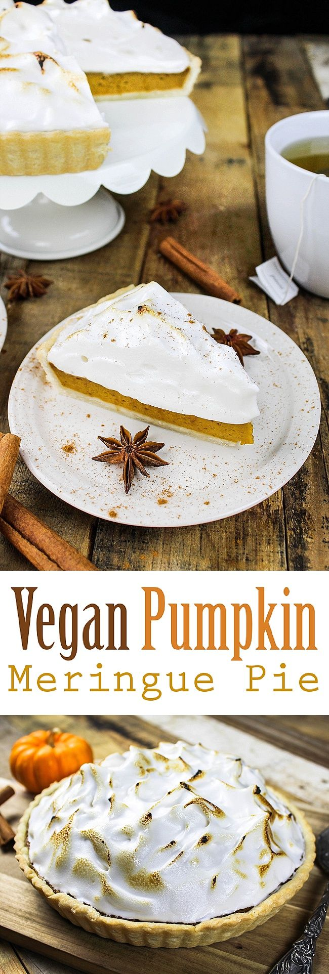 Put a little twist on tradition with this Vegan Pumpkin Meringue Pie. It's creamy, dreamy and gorgeous! It's so easy to make & calls for simple ingredients, too.  It's perfect for Thanksgiving, Christmas & the fall weather.