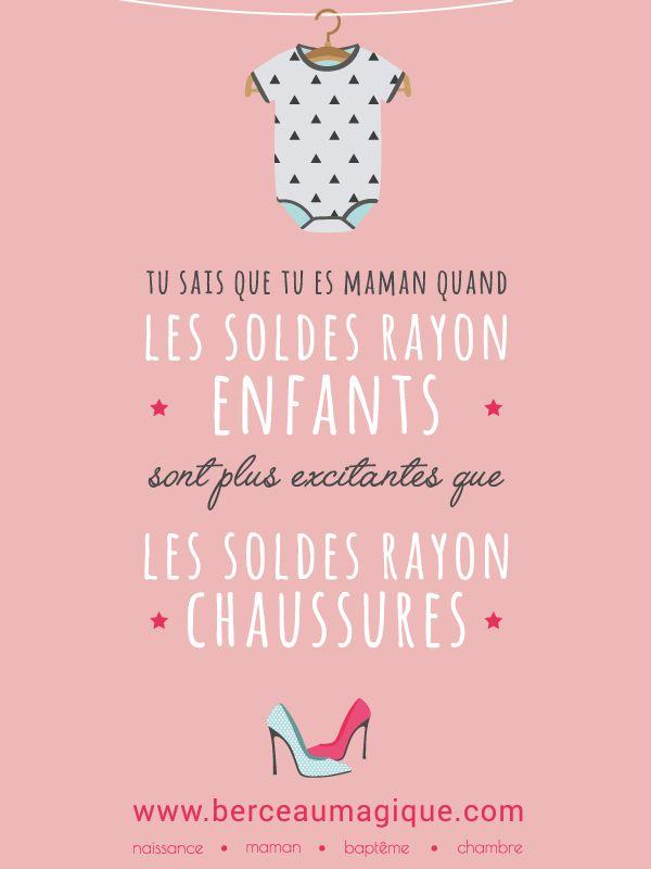 Tu sais que tu es maman quand les soldes rayon enfants sont plus excitantes que les soldes rayon chaussures. #citation #maman