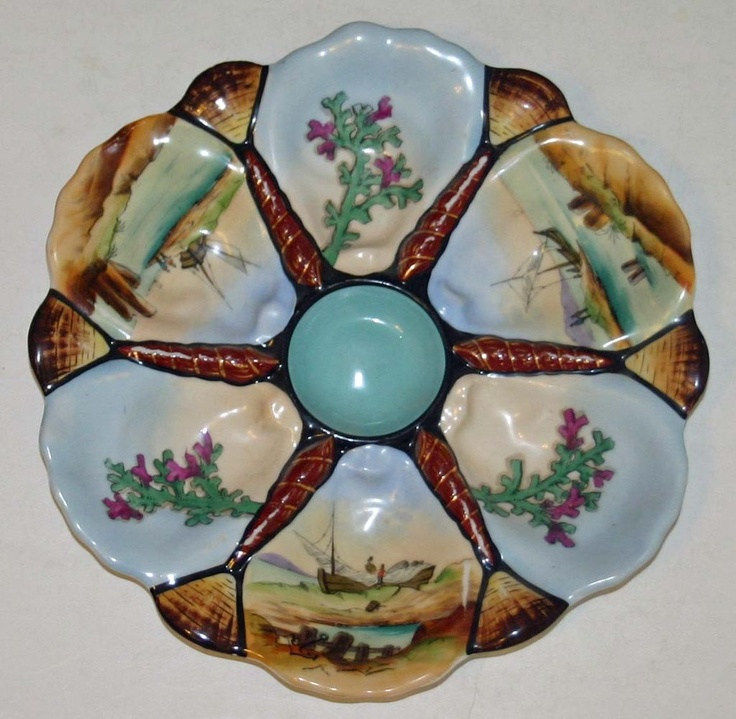 Colorful Antique Oyster Plate with Inidually Hand Painted Wells & 153 best Antique Oyster Tins/Plates images on Pinterest | Oysters ...