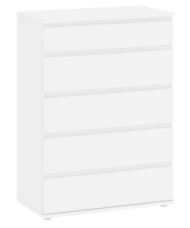 Nova Kommode - Hvid kommode med fem store rummelige skuffer. Kommoden har et minimalistisk moderne design, hvor grebene er placeret som en kant på toppen af skuffekanterne. God til opbevaring af små og lidt større løse ting.