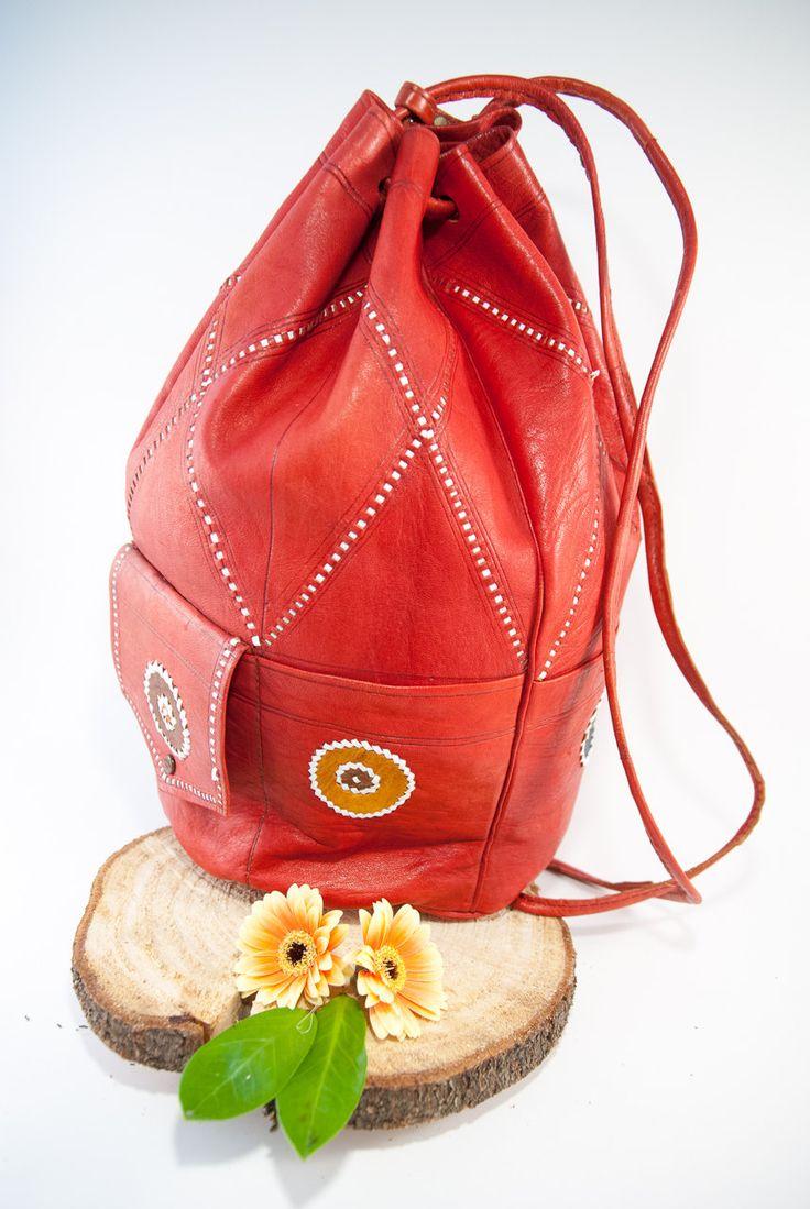Boho red leather sack, bucket bag, boho bag, country bag, leather backpack, boho…