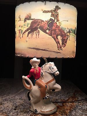 Vintage Western Cowgirl Lamp ..... Bucking Cowgirl Lamp With Rodeo Scene Shade.