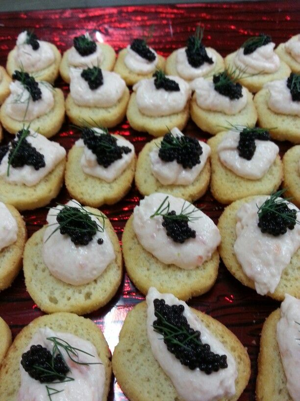 A beautifully delicate canape. Salmon and whiskey mousse with caviar.