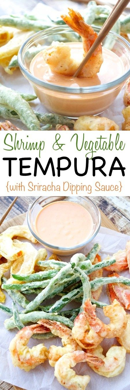 A restaurant favorite made at home! Shrimp and assorted veggies are coated in an easy tempura batter, fried until golden, and served with a delicious sriracha dipping sauce.