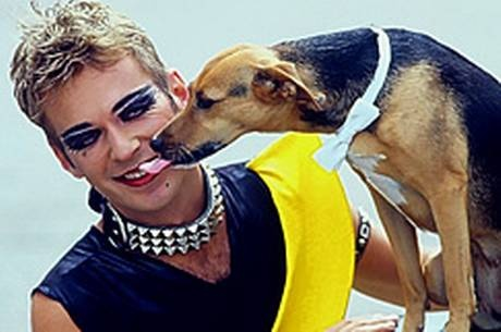 Julian Clary and Fanny the Wonder dog