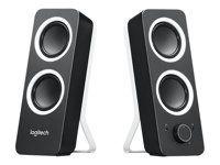 Logitech Z200 Estos altavoces 2.0 generan 10 vatios de potencia y un sonido estéreo pleno y nítido, para una gran acústica y un sonido pleno. El panel frontal tiene integrados los controles de volumen y encendido con conexión para auriculares y entrada auxiliar. Gire la rueda de control de tono en el lateral de los altavoces multimedia para añadir graves profundos.