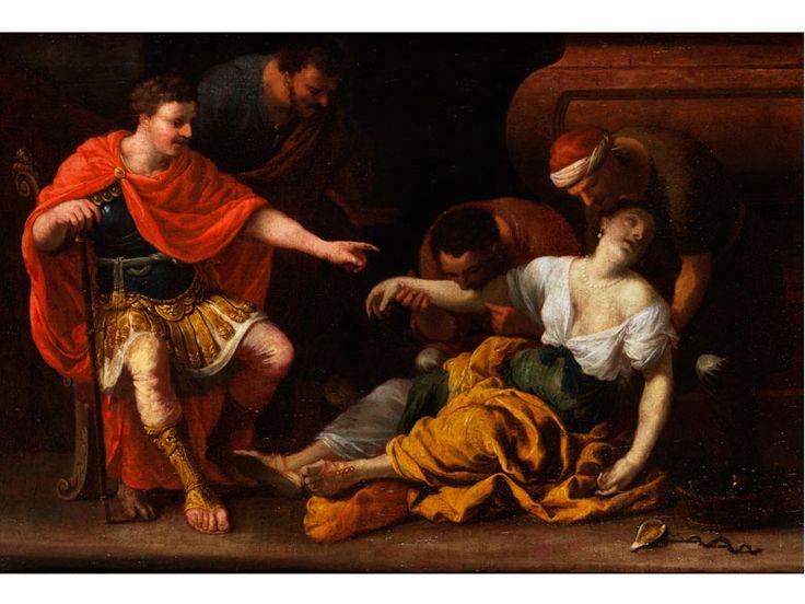 Johann Heiss,   1640 Memmingen – 1704 Augsburg   DER TOD DER KLEOPATRA Öl auf Leinwand. 53 x 77 cm. Aus der Vorliebe des Malers für antike historische Themen geht auch dieses Werk hervor, allerdings ist...