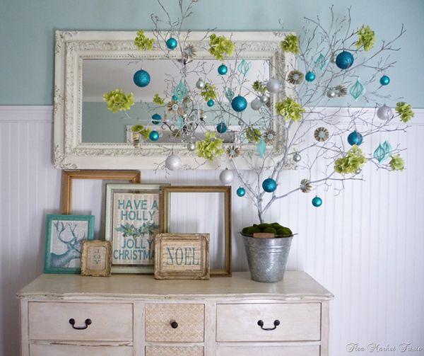 Flea Market Trixie - blue, green Christmas decor. click to tour the home for even more decor.