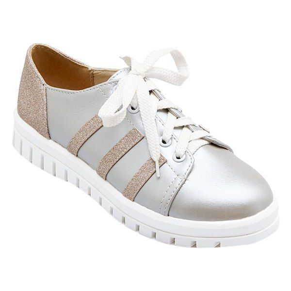 $16.59 Preppy Women's Athletic Shoes With Sequined Cloth and Color Block Design